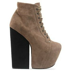 Jeffrey Campbell Taupe Suede Booties